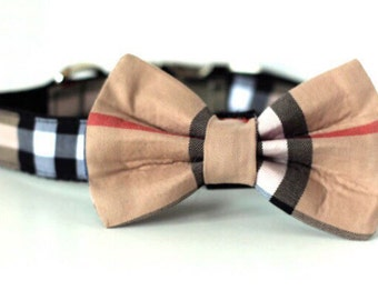 Burberry Inspired Bow Tie | Dog Bow Tie | London Plaid Bow Tie | Bow Tie for Dogs | Plaid Bow Tie | Designer Bow Tie