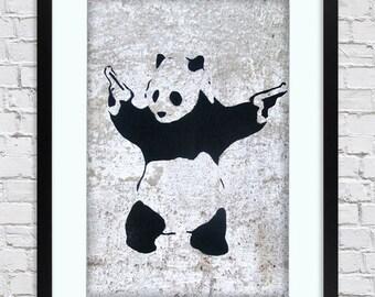 Banksy - Panda Guns -  Large Mounted & Framed Poster Art Print A2 - 31 x 24 Inches  ( 75 x 61 cm )