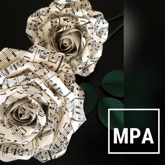 Sheet music paper flowers wedding reception decor wedding for Paper roses sheet music free