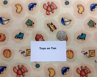 Toys on Tan Fabric - 2 Yards