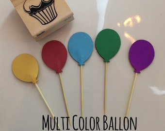 Balloon cupcake toppers  , Birthday , Party , 12 cupcake toppers , Rainbow , Kids , cupcake