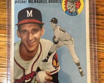 Vintage Warren Spahn signed baseball card