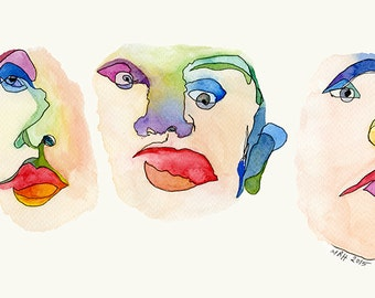 "Watercolor Print - ""Blind Contour"""