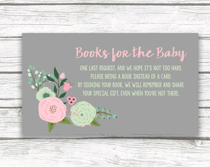 Bring a Book Instead of a Card Baby Shower Insert, Stock Baby's Library, Gray Pink Mint Flower Bouquet, Printable Girl Shower Invitation