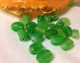 SUPPLY:12   India Glass Bead-Green Faceted Glass Beads, Caribbean Green Beads, Rustic Glass Beads.{#150}