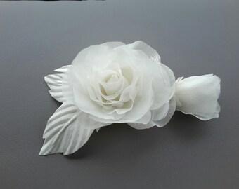 Bridal Hair Comb Wedding Hair Comb Silk Rose Hair Accessories Floral Hairpiece Bridal Headpiece