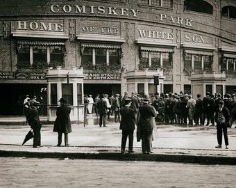 Comiskey Park Chicago White Sox vintage photo baseball stadium antique photograph print, poster 1910s