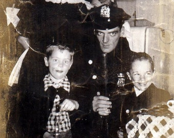 Vintage photo policeman cop police children kids boys antique photograph weird creepy strange PRINT