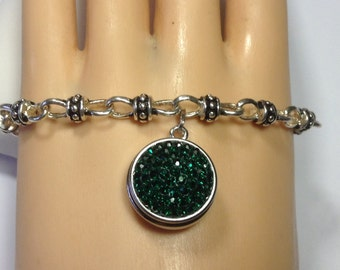 HANDMADE ANTIQUED SNAP Bracelet...jeweled green snap included