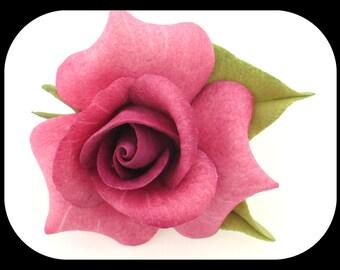 """Vintage Rose Flower BROOCH  Porcelain & Silver Plated 2"""""""