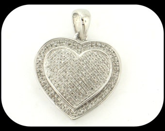 Brand New High Fashion HEART PENDANT .925 Sterling Silver 161 DIAMOND Micro-Pave Set
