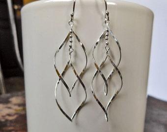 Delightful Women Double Silver Twist Spiral Drop Earrings With French Hook,Spiral Twist Earring,Women Earring,Piercing Earring,Gifts For Her