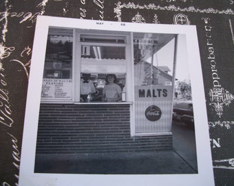 May 1968 Black and White Photo of Walk Up Window Malt Shop