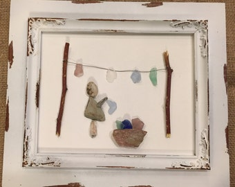 Pebble Art Mixed Media Collages- LAUNDRY DAY