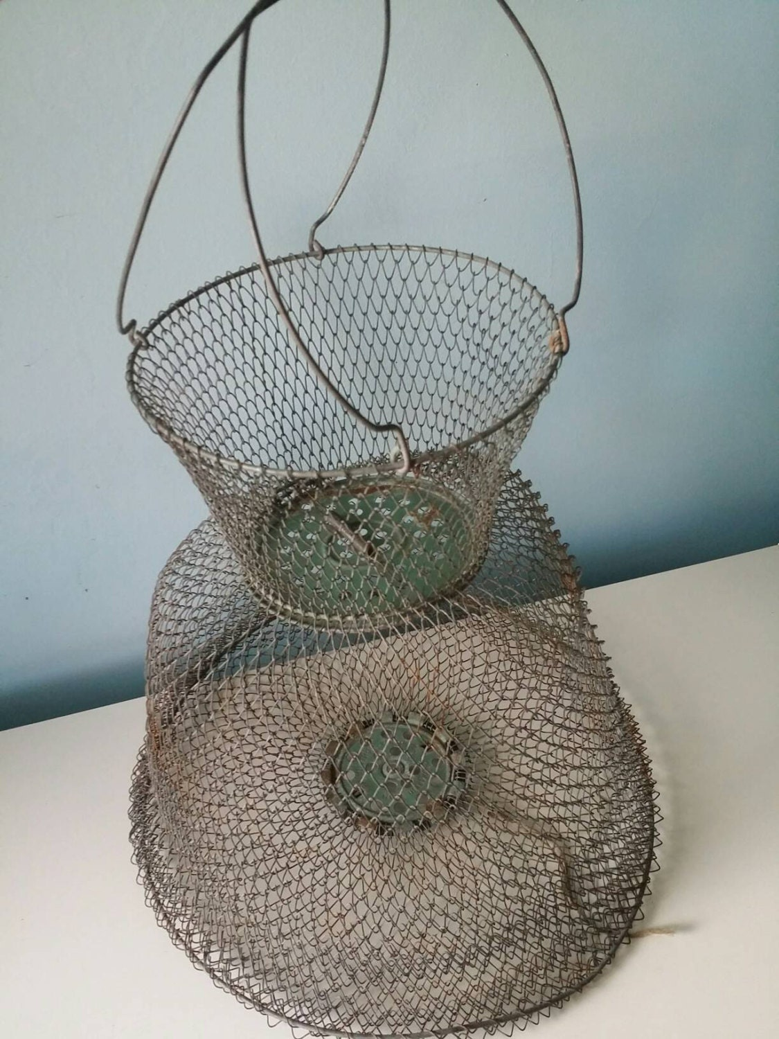 French wire fish net metal fish basket by upcycledgadgets for Fish wire basket