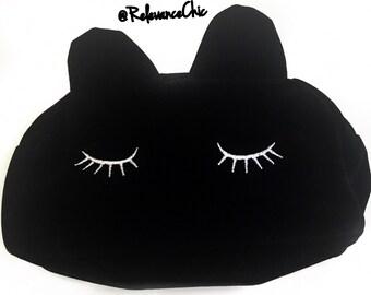 Sleepy Kitty Cat, Black Velvet Toiletry Bag