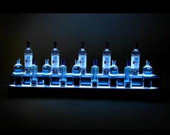 2Ft, 2 Step LED Light Shelf Tier, Bottle Step, Bar Bottle Organizer