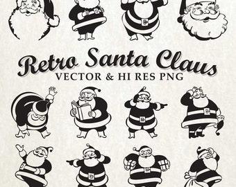 Retro Santa SVG Cut Files, Christmas SVG Cut Files - Vector svg dxf eps png - Silhouette Cameo, Cricut, Cutting Machines & Transfer