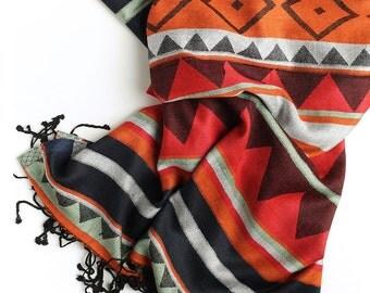 Colorful scarf, silk and viscose scarf, beautiful scarf, bright scarf, multicolor scarf, etnic scarf, long scarf, unique scarf, shawl scarf