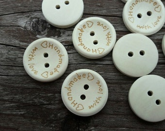 Ten set buttons, 2 hole buttons, wooden buttons, lot buttons, boutons, handmade
