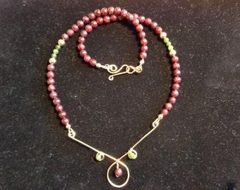 Garnet, Nephrite Jade and Gold-Filled pendant necklace