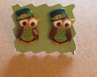 St. Patricks Day Owls Stud Earrings - Post Earrings