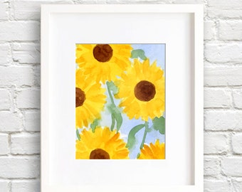 Sunflowers Art Print - Wall Decor - Watercolor Painting