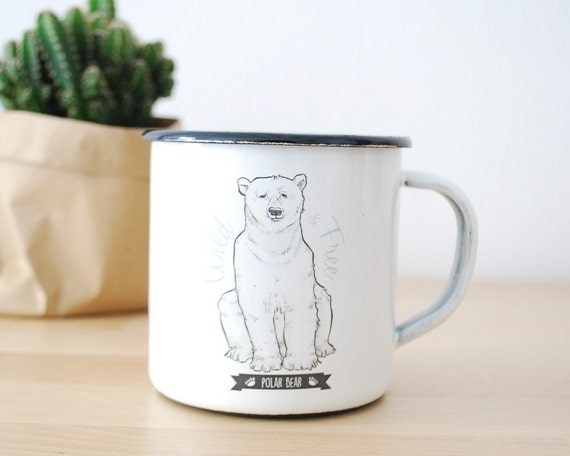 Enamel Mug POLAR BEAR  / Eco-friendly Mug / Camping Mug / Steel Mug