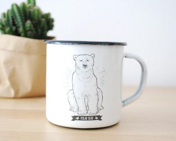 Enamel Mug POLAR BEAR  / Eco-friendly Mug / Camping Mug / Steel Mug