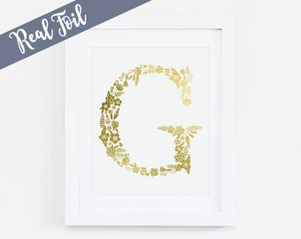 Custom Monogram, Gold Foil Print, Real Gold Foil, Personalized, Gold Wall Art, Office Decor, Gold Foil Quote, Nursery Art, Initials