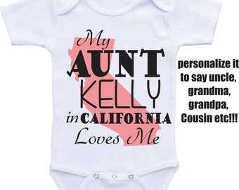 Aunt Onesies-My Aunt Loves Me from different State or countries Aunt Onesie/Auntie shirt/ I love my Aunt baby boy baby girl Aunt baby shirt