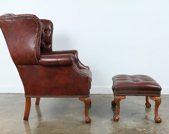 Wingback Vintage Leather Chair and Ottoman