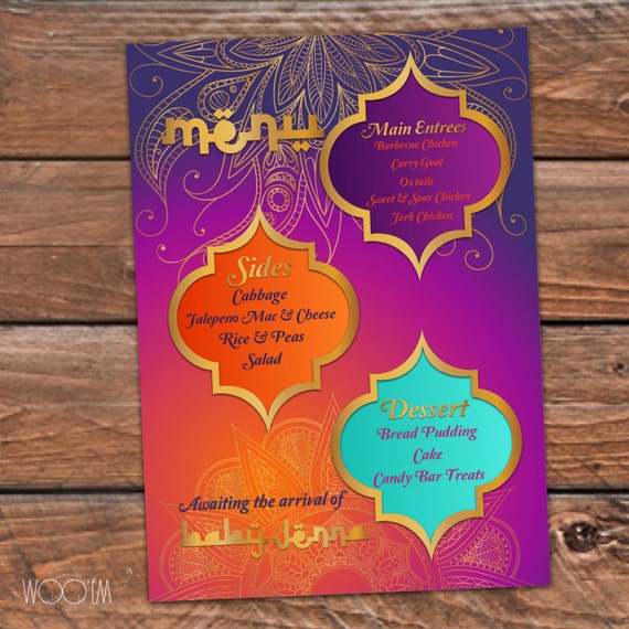 moroccan themed baby shower printable diy arabian inspired menu