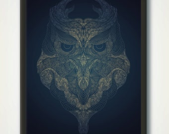 Owl Printable, Woodlands Decor, Owl Line Art, Modern Animal Poster, Black Print, Wilderness Wall Art, Woodlands Owl, Minimalist Animal Print