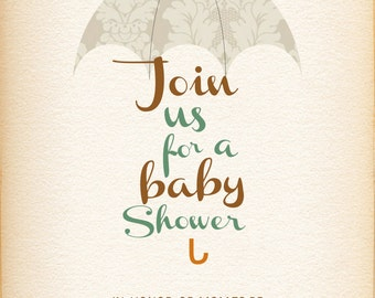 Printable-Digital-Baby Shower-Umbrella-RainDrops-vintage feel-Neutral-Boy-Invitation-Custom-Mom to be-Parents to be-Brown-Green