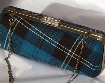 Blue black and white tartan/plaid clutch bag with chain