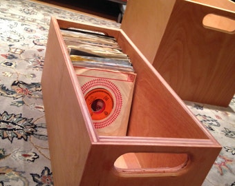 """45 RPM - (21 1/2"""" Deep) Vinyl Record Storage and Display Crate - Natural, Light Cherry or Walnut Finish"""