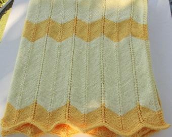 Yellow Chevron Stitch Baby Blanket