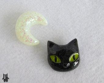 Cat Face Brooch//Resin Cat Brooch