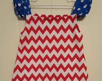Baby Dress - Infant Dress- Red and White Chevron Dress - Blue and White Cap Sleeves - Game Day Dress - Size 12M - 4th of July