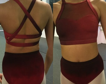 Custom Two Piece Class and Convention Dancewear Dance Costume Competition Contemporary Lyricalal Jazz Modern Crop Top Ombre Dip Dye