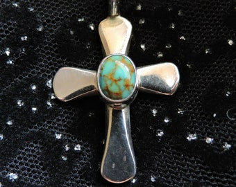 Cross Turquoise Pendant Necklace Sterling Silver