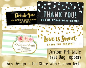 Printable Custom Text Treat Bag Toppers Digital Favor Bag Label Wedding Baby Shower Bridal Shower Anniversary Birthday Party Any Custom Text
