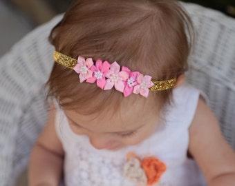 Gold pink baby headband- Gold baby headband- Pink baby headband- Gold pink newborn headband- Gold pink bow-light pink and gold headband-gold
