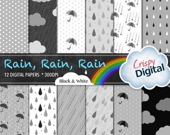 Digital Papers Rain Drops, Polka Dots, Clouds and Umbrellas White, Black and Gray 12pcs 300dpi Digital Download Scrapbooking Printable Paper