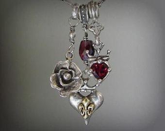 Triple Charm Necklace with Garnets, Sterling Silver & 18k Gold Fleur de Lis