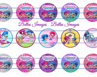 Shimmer & Shine Bottle Cap Images, 1 Inch Circles, Cupcake toppers, Decor, Crafts