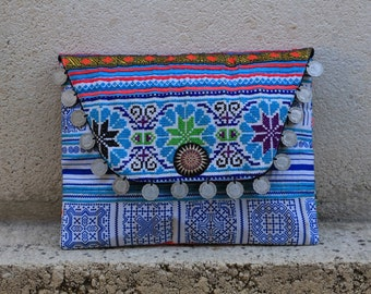 Patchwork Clutch/iPad Case - blue