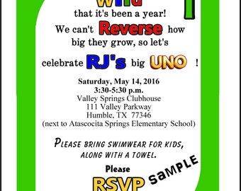 UNO 1st BIRTHDAY 5 x 7 Invitations Personalized with your Information