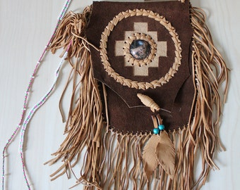 SALE - Peruvian Fringed Suede Bag